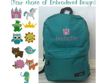 Personalized Teal Backpack, Teal School Backpack, Embroidered backpack, Monogram Backpack, Girls backpack, Fox backpack, dragon backpack