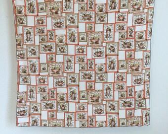 """Vintage Tablecloth, Vintage Patterned Tablecloth, Small Tablecloth, Square Tablecloth, 32"""" by 34"""""""