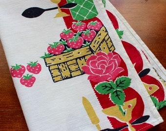 Vintage Linen Towel Kitchen Dish  Mid Century Bright Red Pink Mustard Wine Grapes Berries Cutlery
