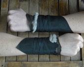 Leather Fur Cuffs - Warrior Viking Tribal Larp Costume Cosplay - Pair #20b