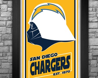 """DARTH VADER """"San Diego Chargers"""" inspired limited edition 11x17"""" art print"""
