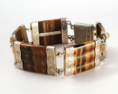 Amazing Victorian Pinchbeck Scottish Agate Tiger Eye Bracelet