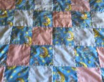 Sale Flannel baby blanket Machine quilted Bunnys on moon or clouds