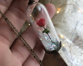 Made to Order : BEAUTY and the beast inspired snow globe holiday necklace