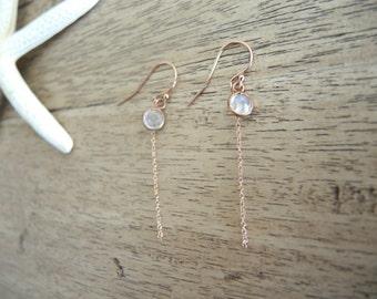 Moonstone Earrings, 14K Rose Gold Vermeil Earrings, Moonstone Jewelry, June Birthstone, Rose Gold Jewelry Gift For Her, Pink Gold Earrings,