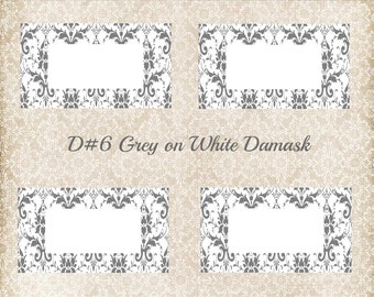 DIY printable place cards for weddings, showers, parties in grey damask
