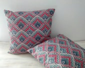 Vintage Boho Throw Pillow Pair / Lotus Print Fabric Pillows / Throw Pillows / Gypsy Boho Decor