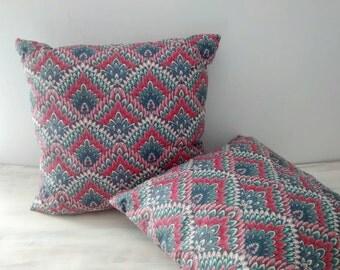Vintage Boho Throw Pillow Pair / Lotus Print Fabric Pillows / Throw Pillows / Gypsy Boho Decor