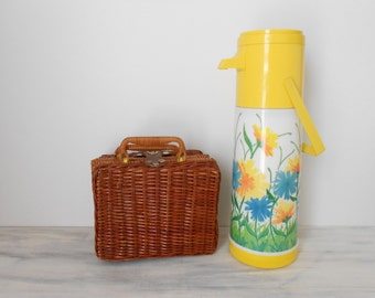 Boho Floral Yellow Drink Thermos Pitcher / Vintage Pump-A-Drink Thermos Vacuum Bottle by Aladdin - Coffee Thermos
