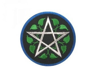 "Leafy Pentagram Patch - 3"" Round patch, Sew-on applique, Pentagram patch, Wiccan pagan, Ivy leaf pentagram, Embroidered patch"