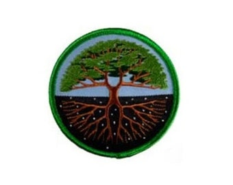 "Tree of Life Patch - 3"" Round patch, Iron-on patch, Sew-on applique, Wiccan pagan, Embroidered patch, Tree patch, Nature applique"