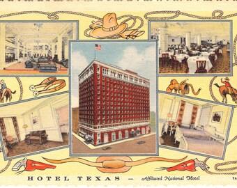 Vintage Linen Postcard....Hotel Texas, Forth Worth, Texas...Used....no. 3583