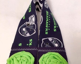DSLR Camera Strap Cover Padded with 2 Pockets for Lens Cap and Memory Card or Extra Battery - Seattle Seahawks Chevron Lime Rosettes