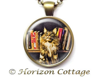Cat in a Bookcase, Reading Necklace, Library Cat Pendant, Jewelry for Readers, Reading Cat Necklace, Cat in the Stacks, Librarian Gift