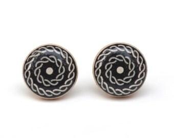 Black Geometric Studs. Black Stud earrings. Gift for Women. Geometric Black Earrings. Black Post Earrings. Wood Earrings. Starlight Woods