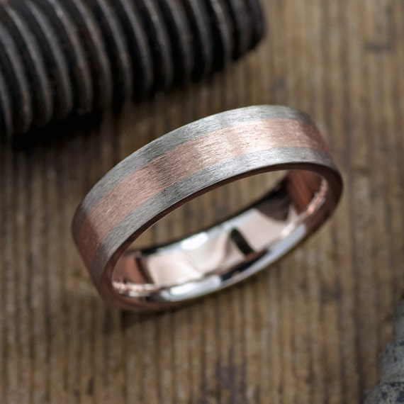 6mm mens wedding band 14k rose gold 14k white gold