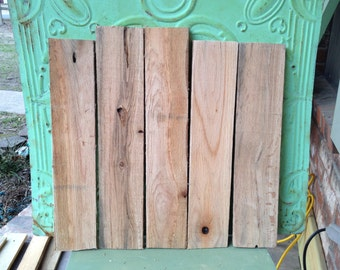 Set of Five Rustic Pallet Boards, Salvaged Wood Pallet Boards, Unpainted Crafting Supplies, Reclaimed Wood