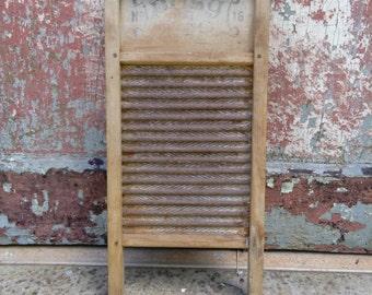 vintage metal and wood wash board