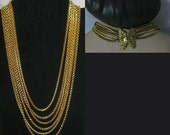 20% Heart Sale Vintage Gold Chain Necklace With Unique Filigree Butterfly Closure
