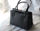Vintage Small Black Evening Handbag with Brass snap-hinge frame