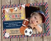 Sports Banner Birthday Party Photo Invitation Digital Printable, any color any wording any age