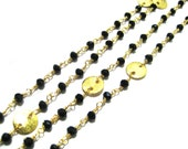 Black Onyx Stone Beaded Chain with matt finish round coins faceted Beads Cluster Bulk Chain supplies wholesale jewelry gemstone findings