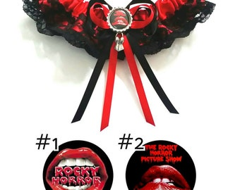 Rocky Horror Picture Show satin/satin & lace/Garter Set- your choice of embellishment and charm