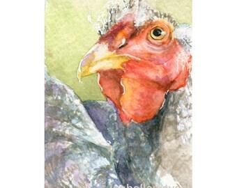 Watercolor Chicken, Chicken Print, Fancy Poultry Art, Poultry Art, Chicken Art