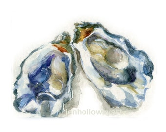 Watercolor Oysters, Pair Oysters Print, Oysters Print, Oysters Art, Shell Print