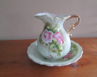 Lefton Pitcher and Bowl with Roses Original Stickers on bottom