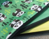 Three Pack Eco-PUL Sandwich or Snack Bags in Pandas