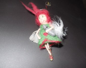 Felt angel with thermos, wool angels, Gift Tags, 14 cm,