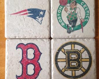 Boston Sports Team Drink Coasters Set of 4