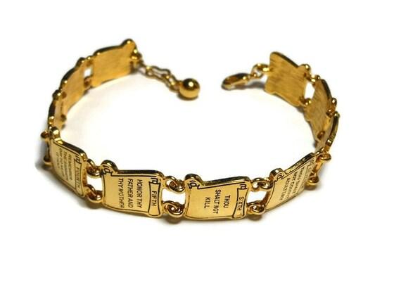 ten commandments bracelet goldtone link charm bracelet with
