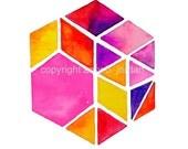 Sunset hexagon / TribalInk etsy shop #bohochic #bohemianart #hexagon #geometric #hippie #art #etsy #triangles #TribalInk