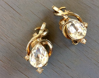 Vintage Trifari Rhinestone Earrings Gem of India 1951 Alfred Philippe Gold Bridal Jewelry
