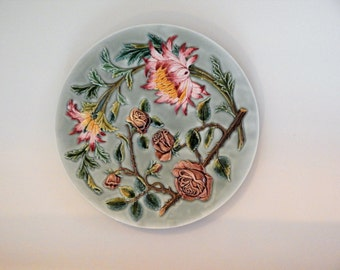 Austrian Victorian Period Majolica Floral Wall Charger Plate