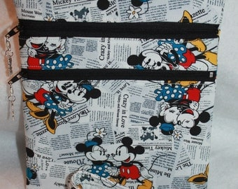 Handcrafted Crossbody Bag-  Mickey Mouse - Minnie Themed Fabric     FREE SHIPPING