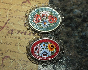 2 Vintage Red & Green Oval Micro Mosaic Flower Pins/Brooches with Filigree Edges, Italian