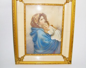 Vintage Ornate Framed German Print Mother and Baby Wall Hanging