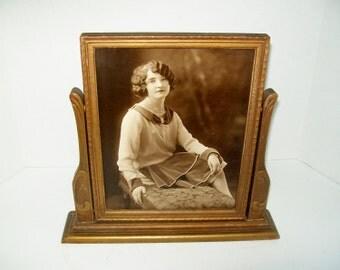 Vintage Framed Portrait Art Deco Tilt Swivel Frame 8 x 10 Table Top Sepia Tone Photograph