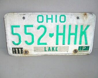 Vintage License Ohio Lake 1986 White Green