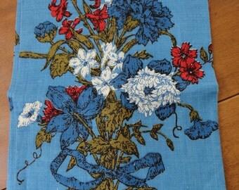 Bright Blue Linen Kitchen Towel  Bachelor Button Flowers Luther Travis Designer