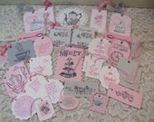 30 Tea Party Tags Assorted Collection Pink Gray Teapot Tea Cup Tea Time