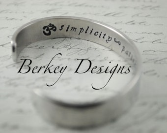 Simplicity ~ Patience ~ Compassion OM - 3/8 Inch Hand Stamped Bracelet by Berkey Designs