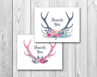 Thank you card, card, antlers, instant download, printable