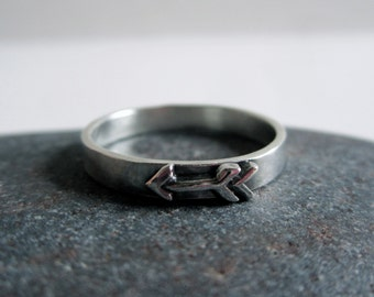 Thin Arrow Sterling Silver Band