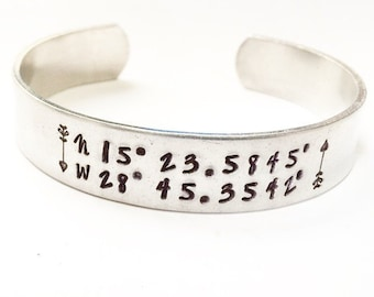Valentine Gift for Her. Latitude Longitude Bracelet. Custom Coordinate Bracelet.GPS Coordinate Bracelet. Gifts under 50