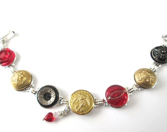MARINE CORPS antique button bracelet. Show support for your Marine USMC mom, wife