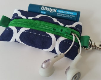 Chapstick, Headphones, or USB Drive Keychain Holder- navy and kelly green